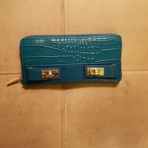 Olivia + Joy, Teal Leather and Gold Look Trim